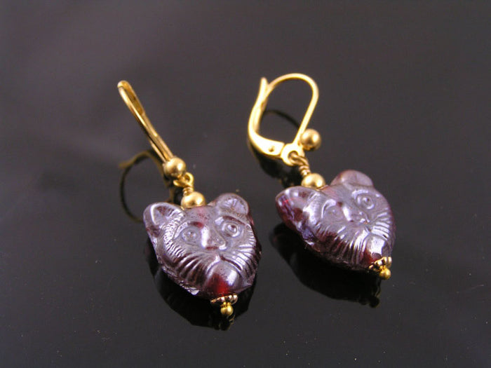 Cat Earrings, Red Glass Beads