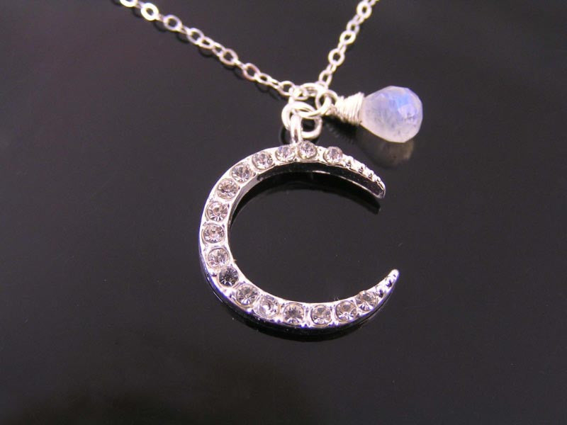 Crystal Set Moon Pendant with Moonstone, Sterling Necklace
