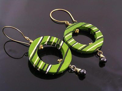 Green Retro Hoop Earrings, Light Weight