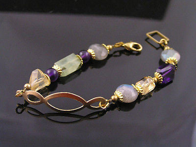 Infinity Bracelet with Prehnite, Citrine and Amethyst