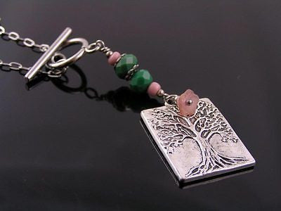 Tree of Life Necklace with Czech Glass Beads, Long Necklace, Lariat