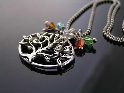 Tree of Life Necklace, Colorful Crystal Necklace