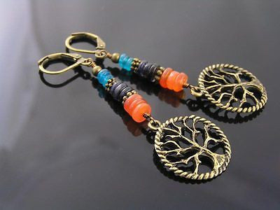 Colorful Tree of Life Earrings with Carnelian, Iolite and Apatite