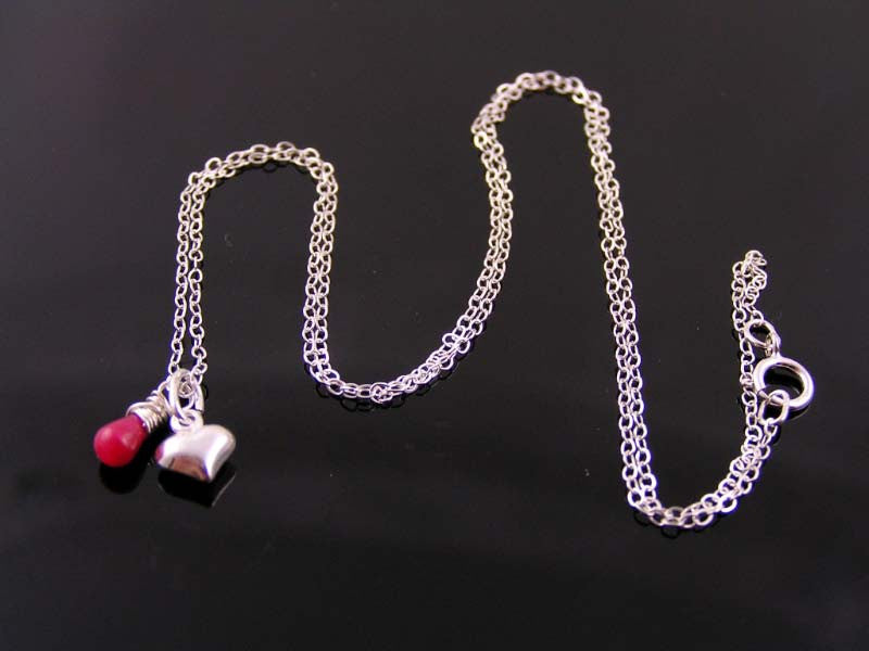 Sterling Silver Necklace with Heart Charm and Ruby