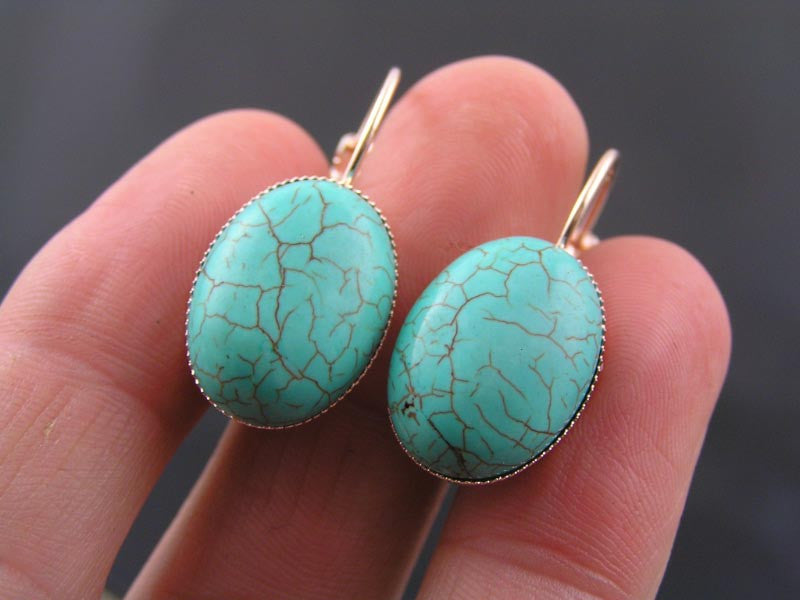 Turquoise Rose Gold Earrings