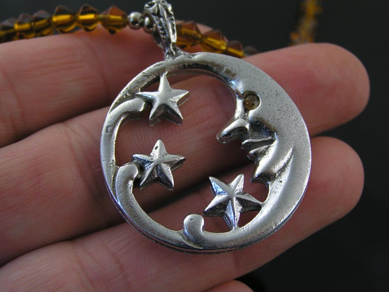 Amber Beads and Crescent Moon, Star Necklace