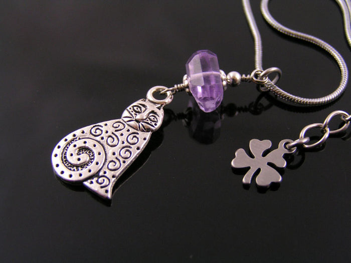 Cat Necklace with Amethyst