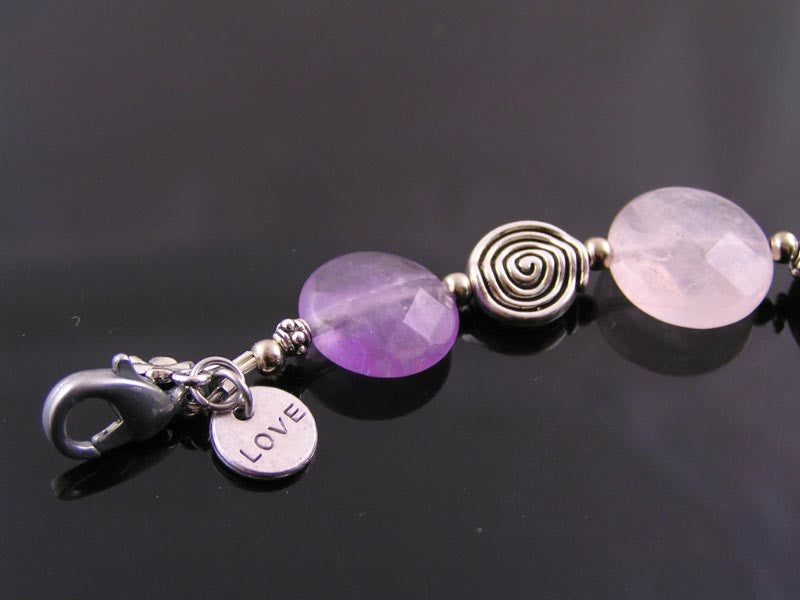 Yin Yang Charm Bracelet with Rose Quartz, Amethyst and Labradorite