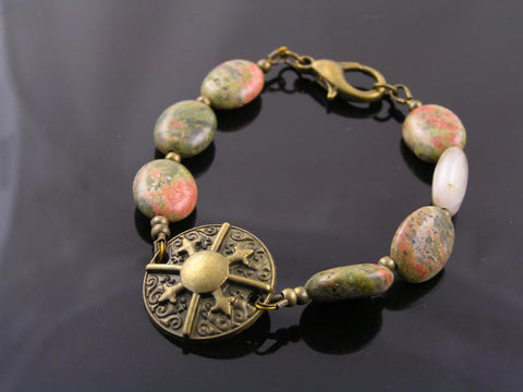 Unakite and Bronze Bracelet, Boho Jewellery