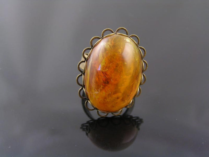 Large Antique Bronze Ring, Amber Cabochon