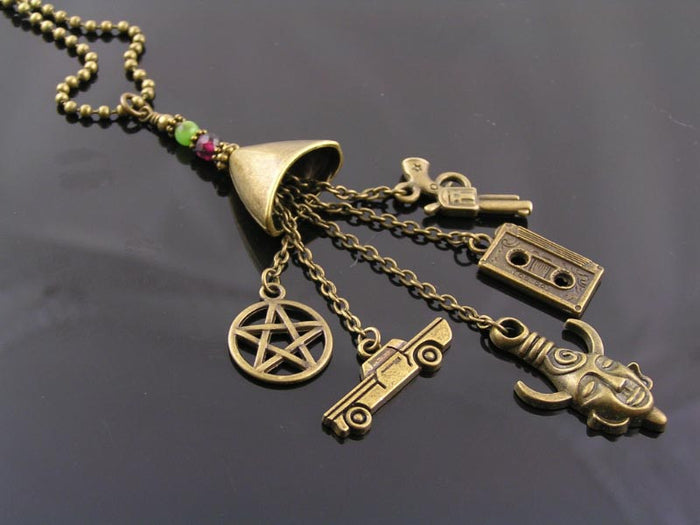 Supernatural Charm Necklace, Sam's and Dean's Birthstones