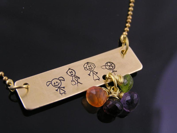 Personalised Family Necklace with Gemstones, Stick Family