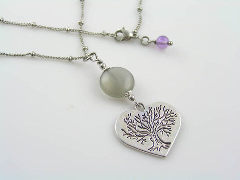 Grey Moonstone, Tree of Life Heart Necklace