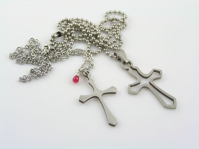 Matching Couple Necklaces with Cross Pendants, Ruby