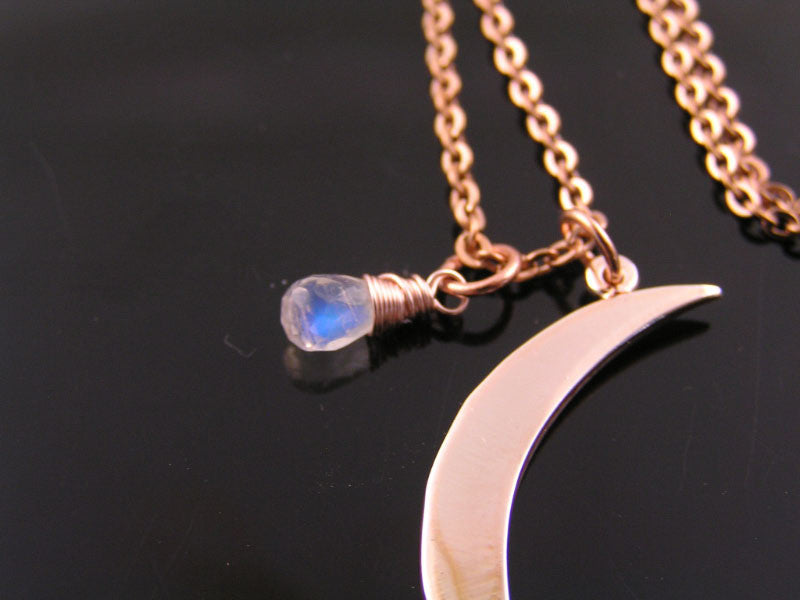 Rose Gold Necklace with Crescent Moon Pendant, Rose Gold Moon