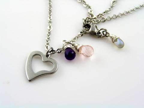 Stainless Steel Heart Necklace with Amethyst and Rose Quartz