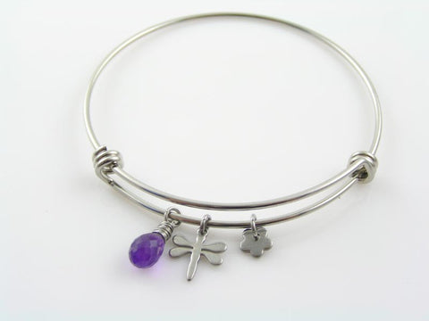 Adjustable Bangle with Gemstone (Amethyst), Dragonfly and Flower Charm - Customizable