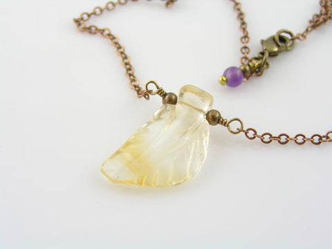 Carved Citrine Leaf Necklace