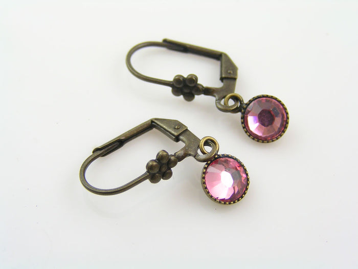 Tiny Pink Crystal Earrings