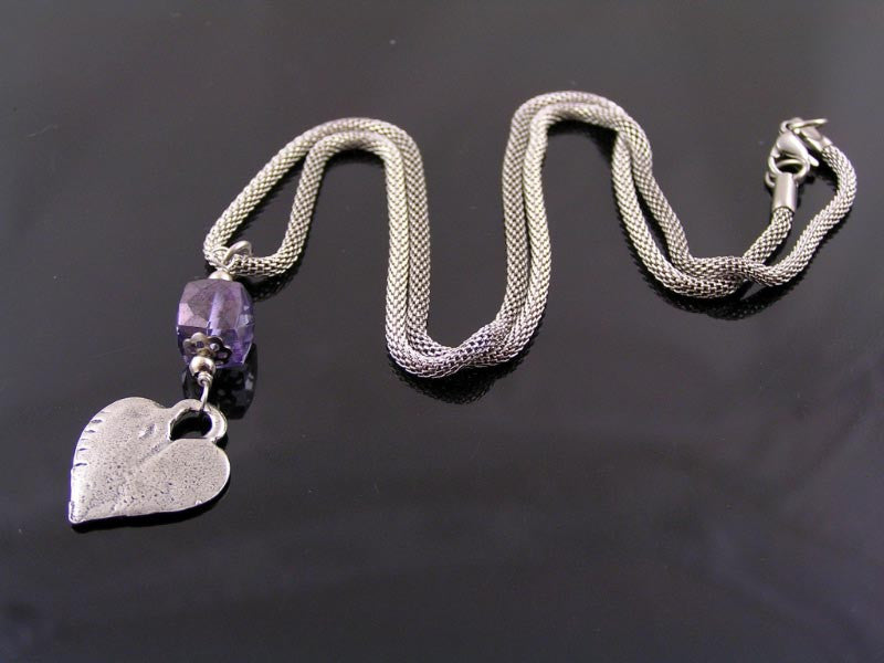 Heart Necklace with Mystic Blue Quartz