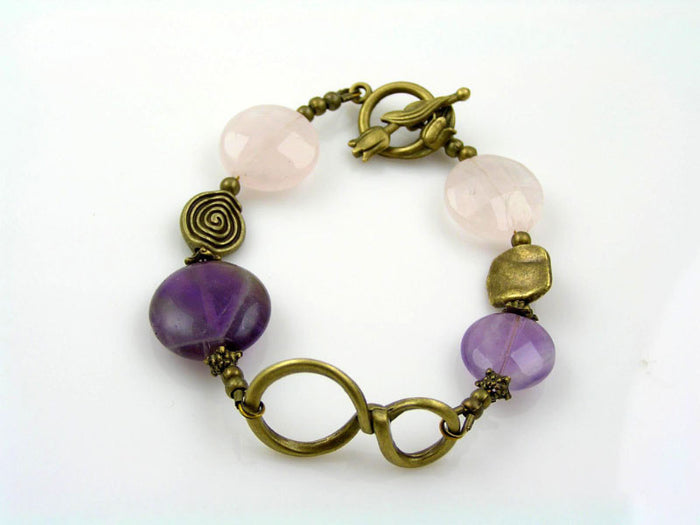 Infinity Bracelet with Amethyst and Rose Quartz, Eternity Bracelet