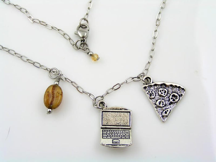 Programmer Necklace with Computer, Coffee Bean and Pizza Slice Charms