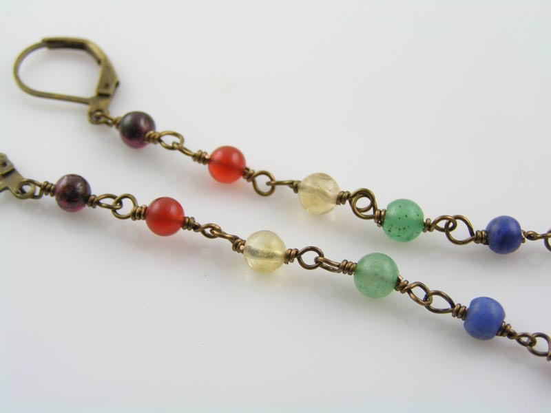 Long Chakra Gemstone Earrings