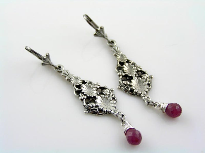 Pink Sapphire Earrings, Precious Gemstone Chandelier Earrings