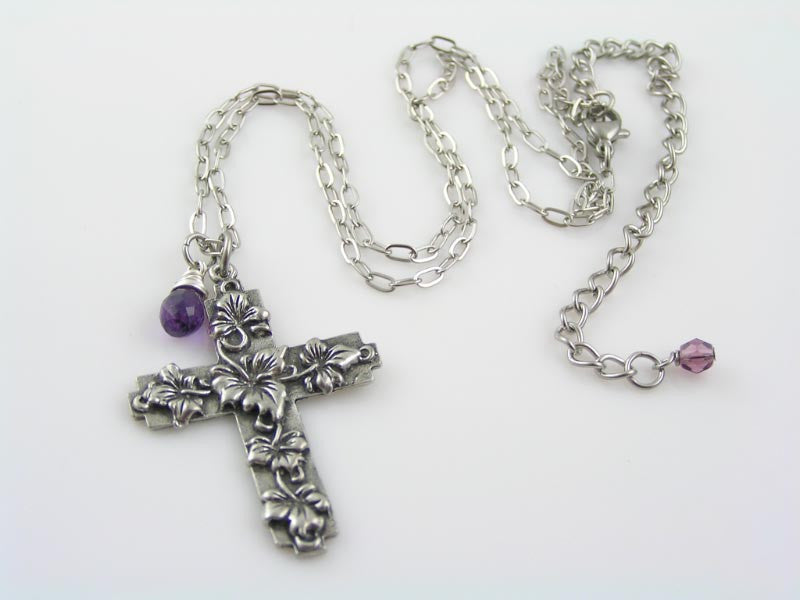 Ornate Christian Cross Pendant Necklace with Wire Wrapped Amethyst, Birthstone for February