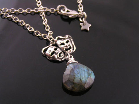 Comedy and Tragedy Mask Necklace with Labradorite