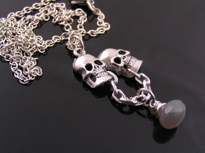 Gothic Necklace with Skulls and Grey Moonstone