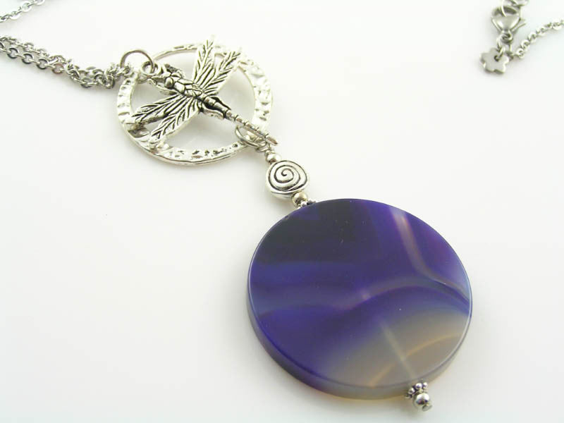 Purple Agate and Dragonfly Charm Necklace