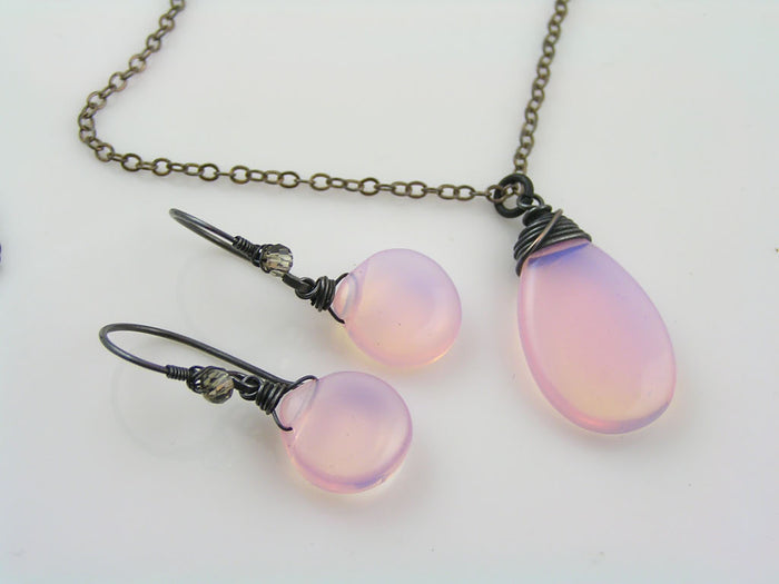 Opalite Necklace and Earrings Set
