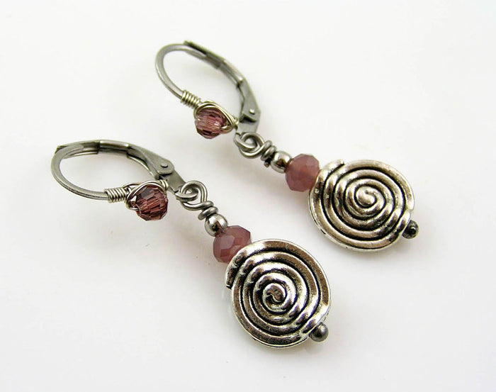 Wire Wrapped Spiral Earrings