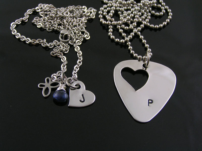 Personalized Guitar Pick and Heart Necklaces for Couples or Friends
