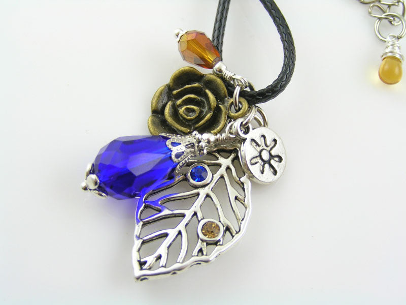 Wire Wrapped Crystal Drop, Leaf and Flower Necklace - Handmade