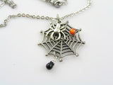 Funnel-web Spider Necklace with Spider Web Charm, Australian Spider