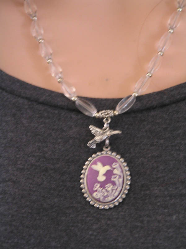 Hummingbird Necklace, Cameo and Charm