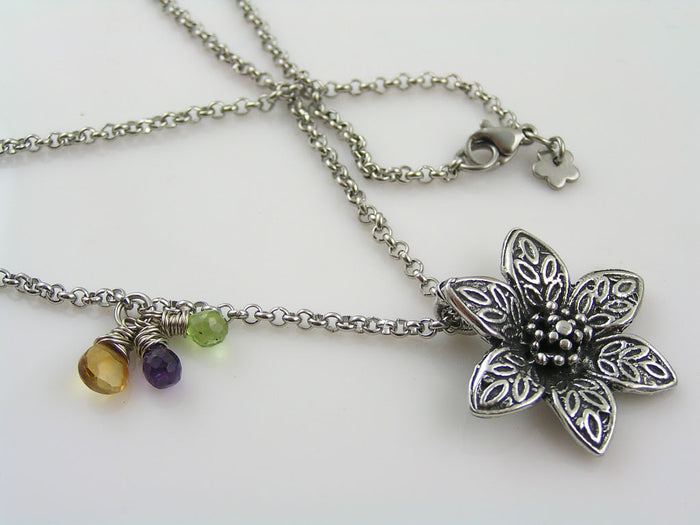 Flower Necklace with Gemstones