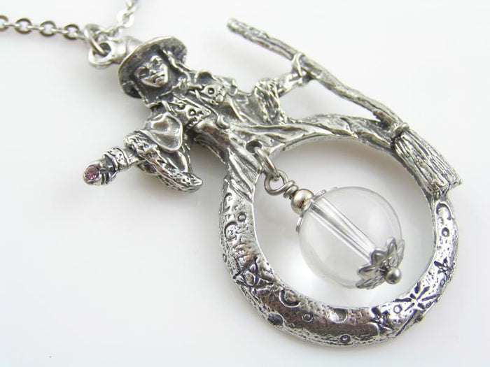 Wizard Necklace with Crystal Ball, Witch Necklace