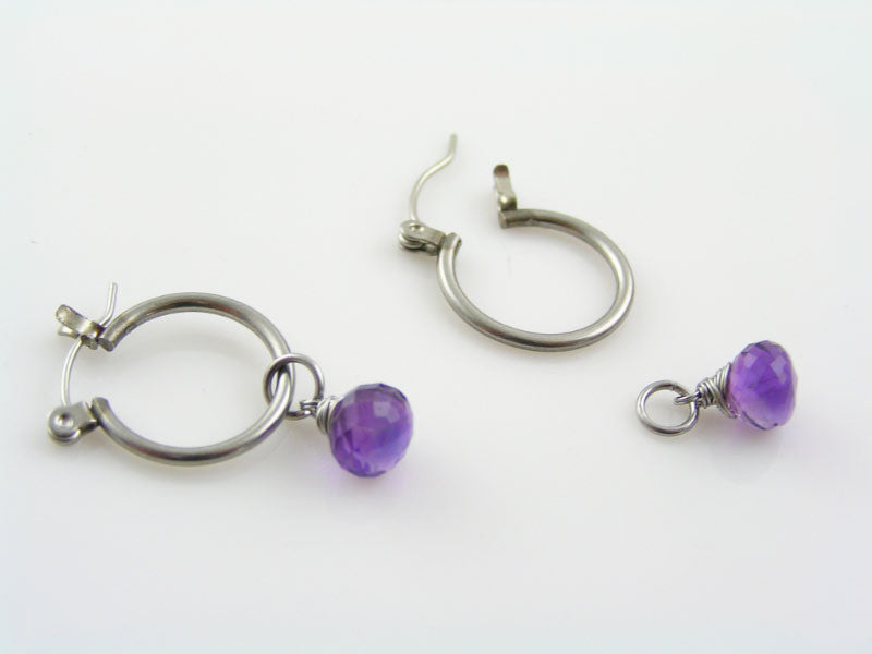 Hoop Earrings with Amethyst Drops, February Birthstone