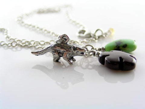 Tasmanian Devil Necklace with Australian Gemstones Mookaite and Chrysoprase