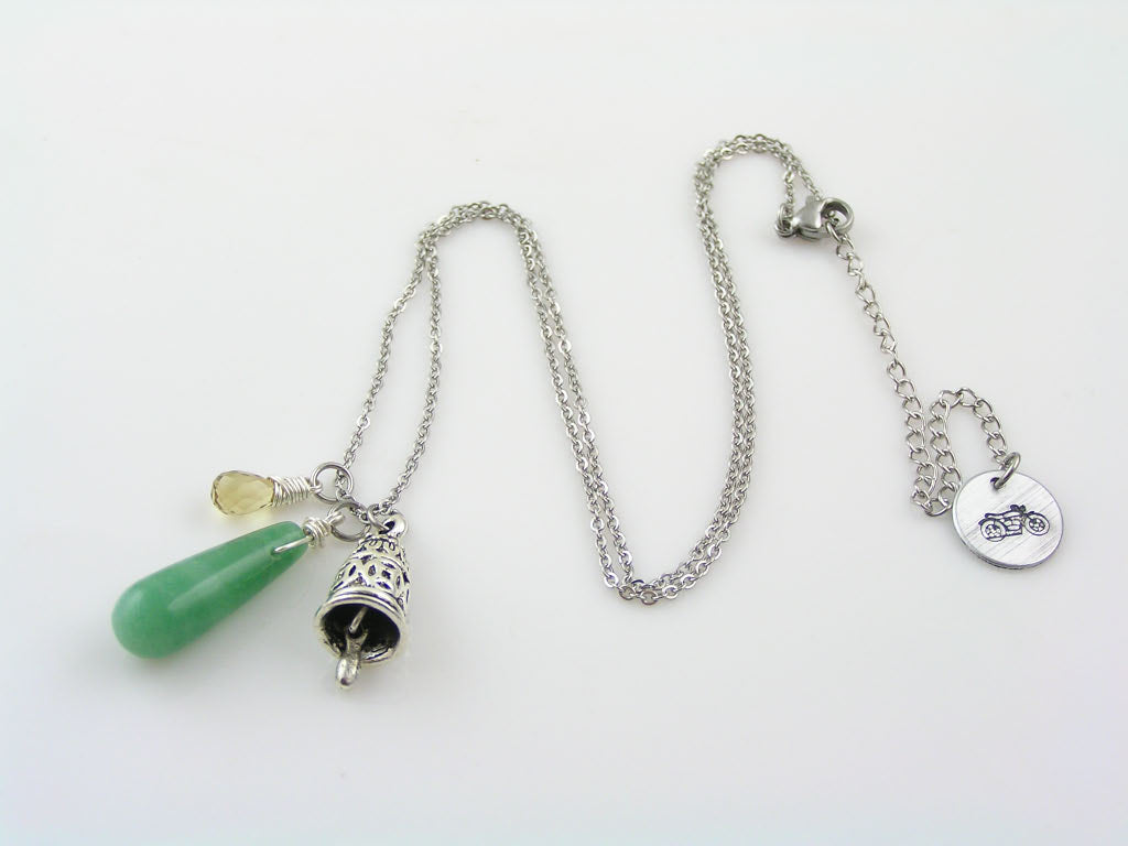 Gremlin Bell Necklace with Protection Gemstones, Aventurine and Citrine