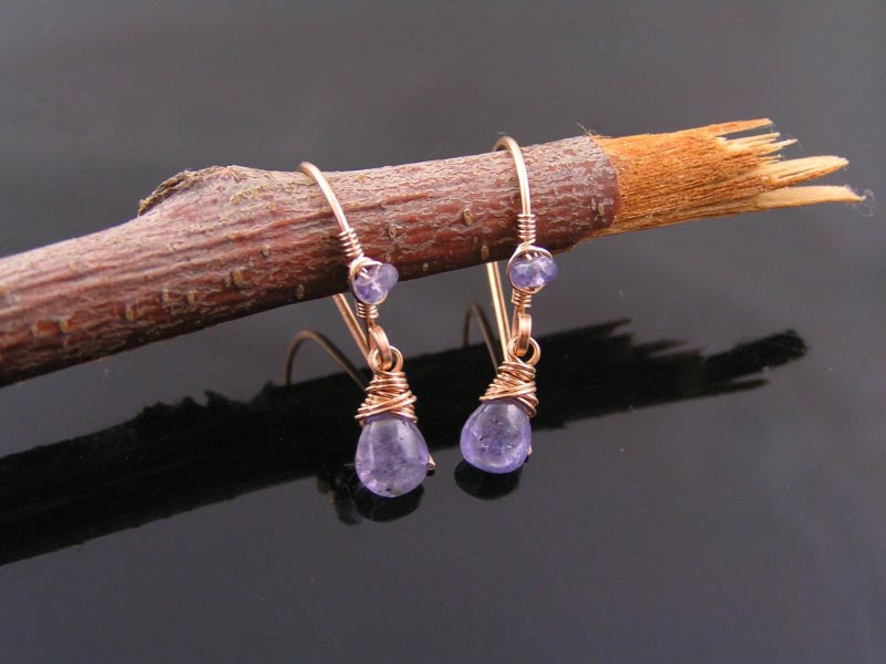 Tanzanite Earrings, Wire Wrapped in Solid Bronze