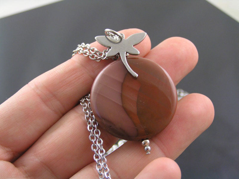 Imperial Jasper and Dragonfly Necklace