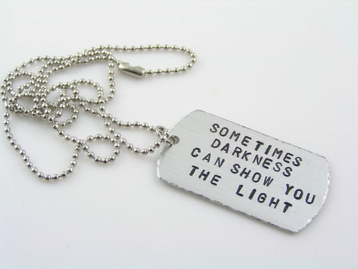 Hand Stamped Dog Tag Necklace, Disturbed Quote Necklace