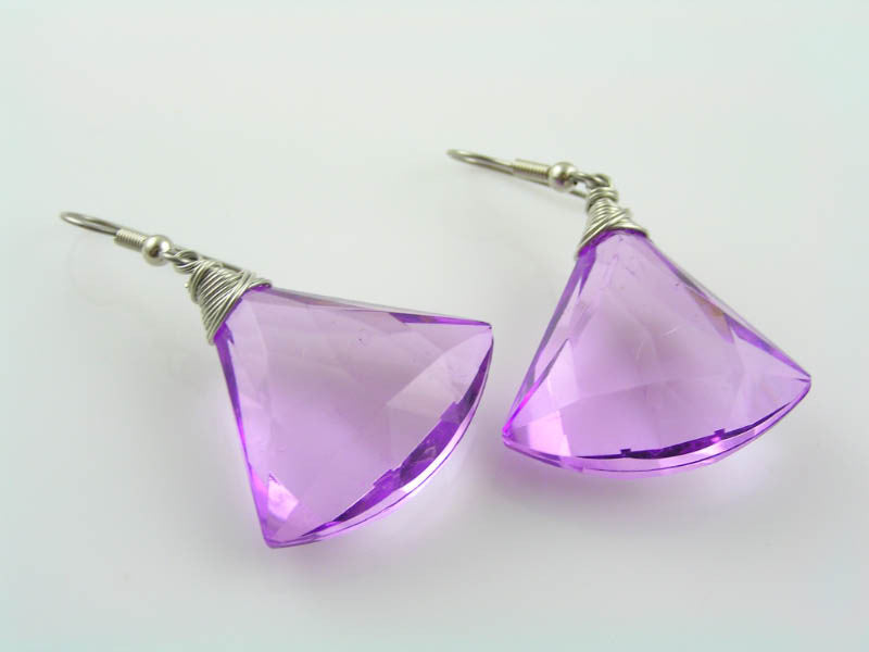 Large Purple Dangle Earrings