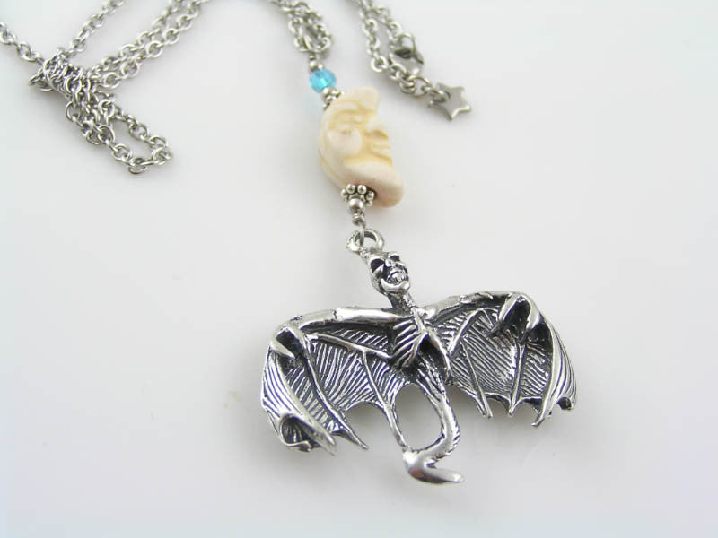 Skeleton Bat Necklace with Carved Crescent Moon