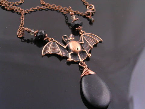 Copper Bat Necklace with Blackstone