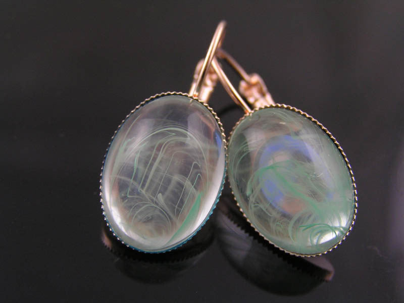 Rose Gold Earrings with Clear and Green Cabochons